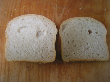 Sandwich sliced white bread showing crumb.