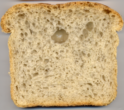 55% water or 57.35% moisture bread with 2-day refrigeration.
