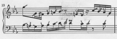 Bach's Invention 2 measure 13 without right- and left-hand finger crossover.