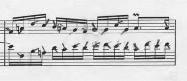 Bach's Invention 2 measure 18 without right- and left-hand finger crossover.