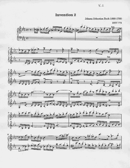 Bach's Invention 2 page 1 with graphic piano fingering notation V.2.