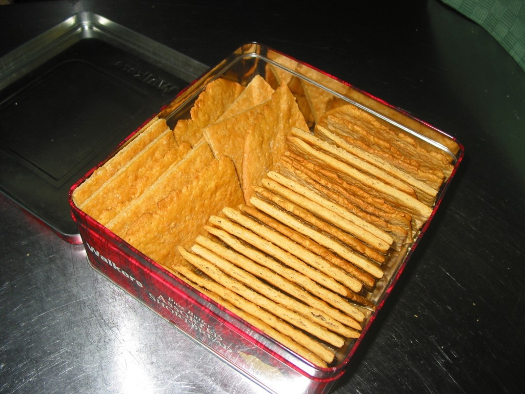 Crackers packed in storage tin.